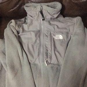 Grey fuzzy North Face jacket women's xs